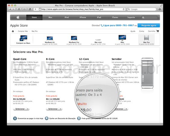 Mac Pro na Apple Online Store brasileira