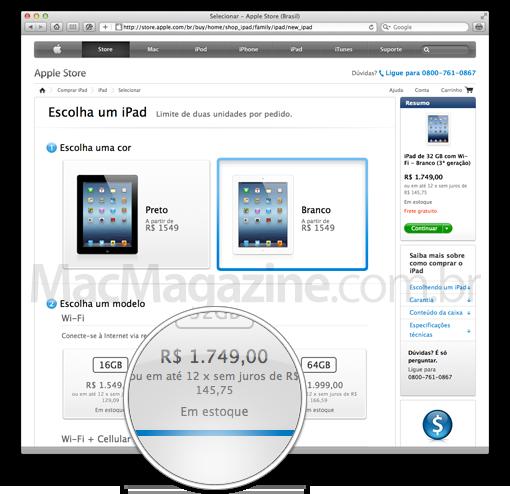 Novo iPad em estoque na Apple Online Store