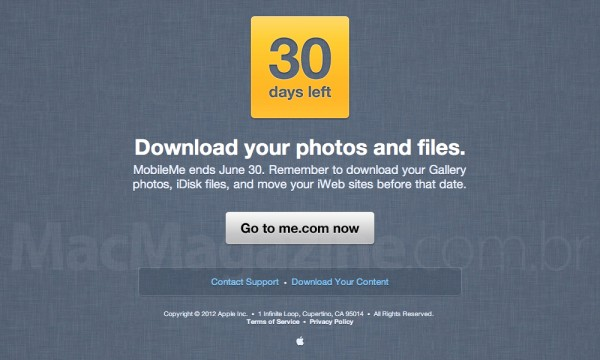 Email enviado pela Apple sobre a transição MobileMe/iCloud