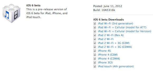 Beta do iOS 6
