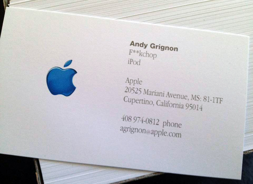 Cartão de visitas de Andy Grignon