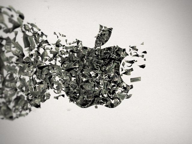 Logo da Apple com dinheiro voando