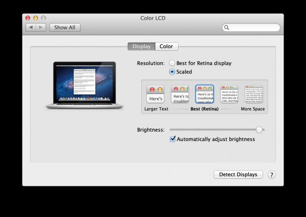 Screenshot de um MacBook Pro com tela Retina