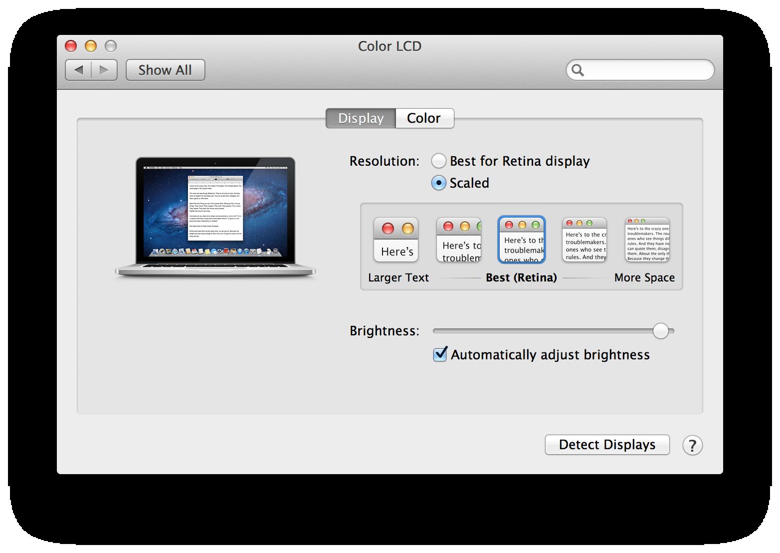 Novo macbook pro capaz de rodar de fato a 28801800 pixels mas a configurao padro best retina que faz a mquina rodar a 1440900 pixels com bastante nitidez modo hidpi se o usurio selecionar more space ccuart Choice Image