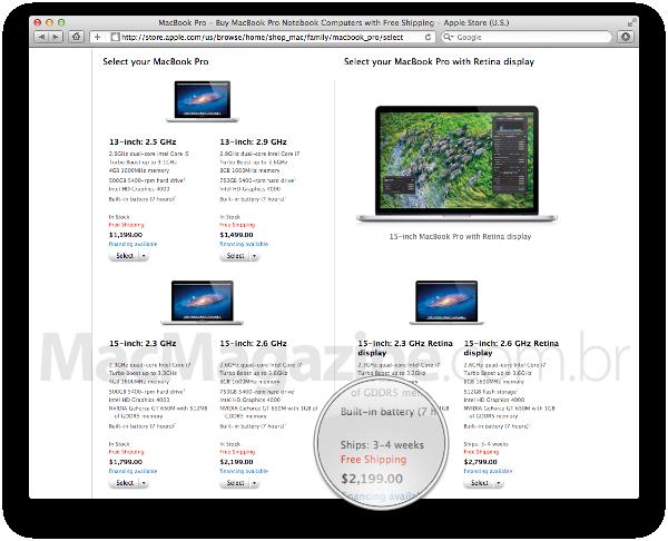 Prazo de entrega do MacBook Pro com tela Retina