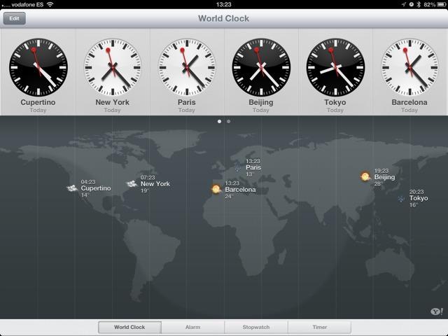 App Relógio no iPad