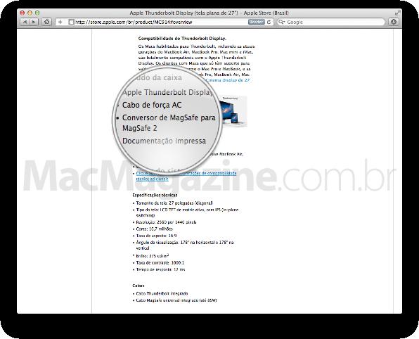 Caixa do Thunderbolt Display com Conector MagSafe para MagSafe 2