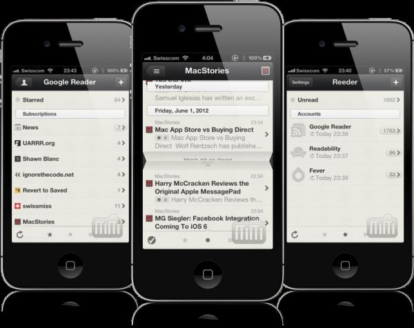 Aplicativo Reeder em iPhones