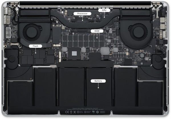 Interior do MacBook Pro com tela Retina