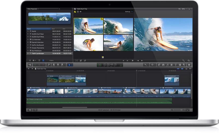 MacBook Pro com tela Retina rodando Final Cut Pro X