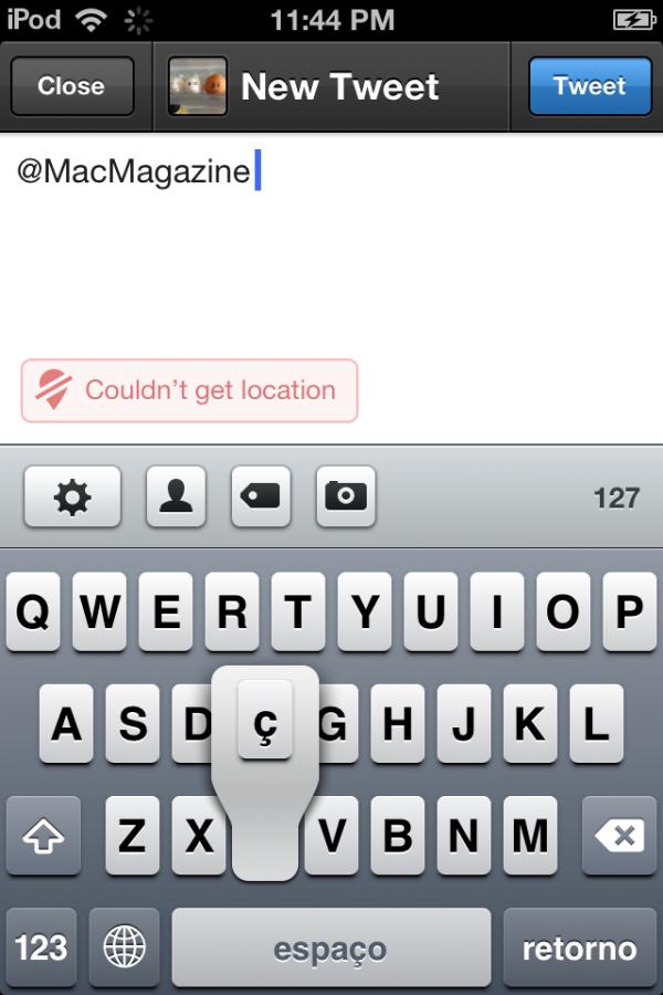 Acento no teclado do iOS