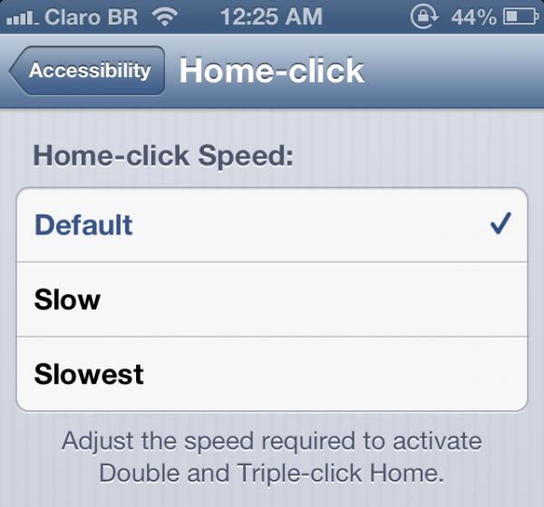 Velocidade do botão Home no iOS 6