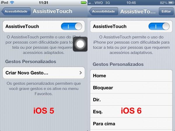 Botão AssistiveTouch no iOS 6