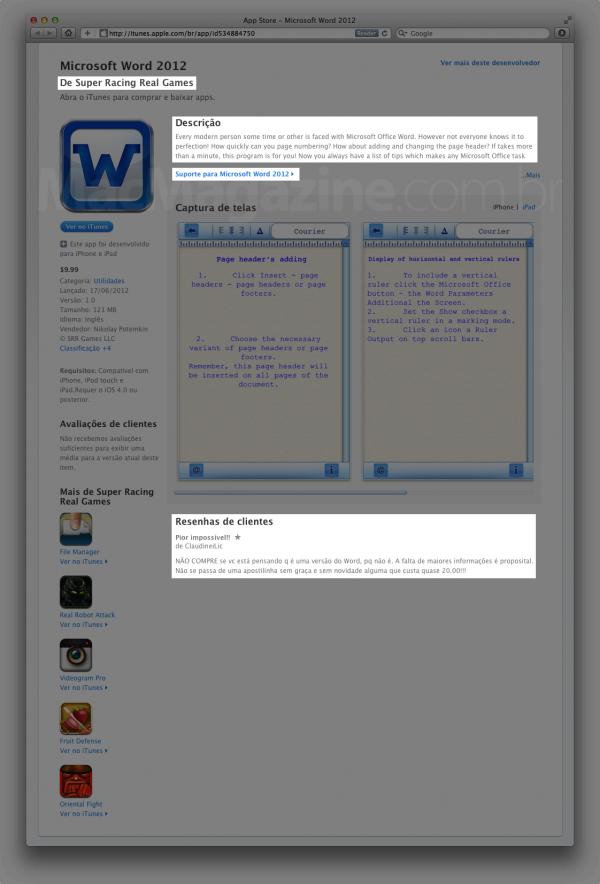 Falso Word na App Store