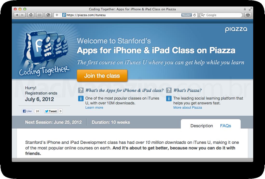 Piazza - iTunes U e desenvolvimento para iOS da Stanford