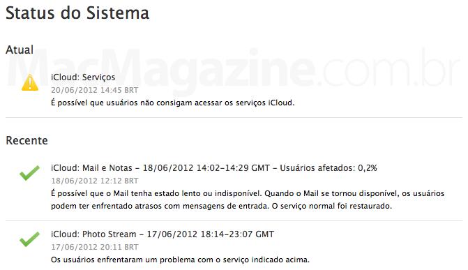Status do sistema - iCloud