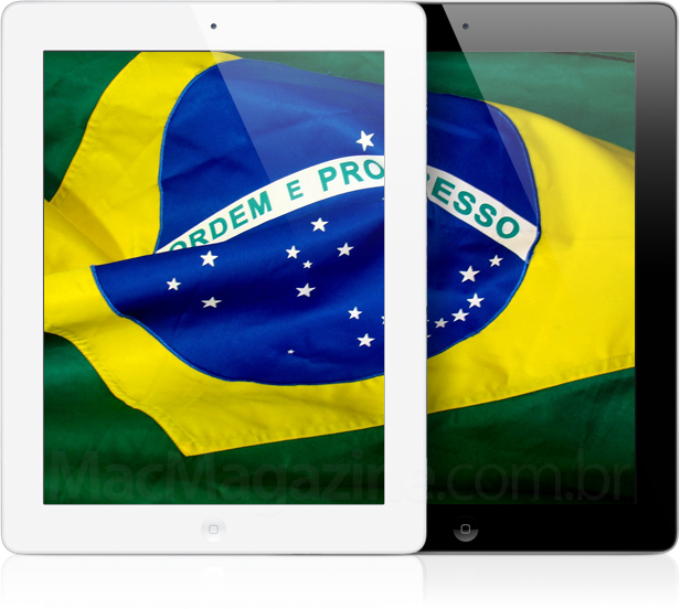 iPads de terceira geração com a bandeira do Brasil