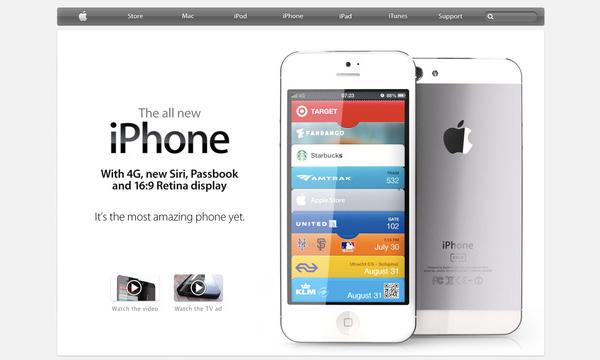 Mockup do novo iPhone no Apple.com