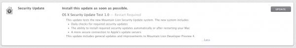 Atualização de segurança do OS X Mountain Lion Developer Preview 4