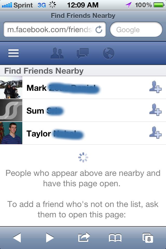 Facebook - Find Friends Nearby
