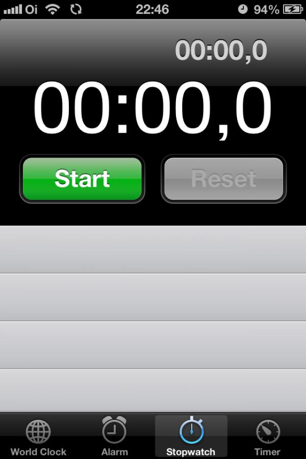 Cronômetro do iOS 6