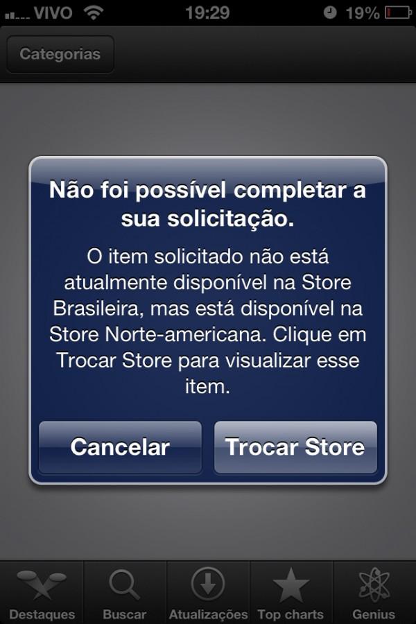 Troca entre App Stores no iOS 6