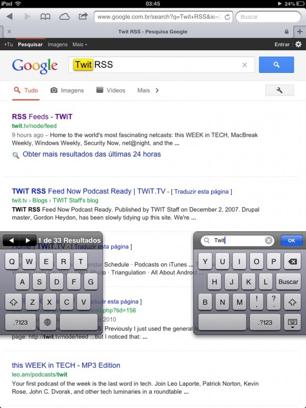 Busca com teclado dividido no iOS 6