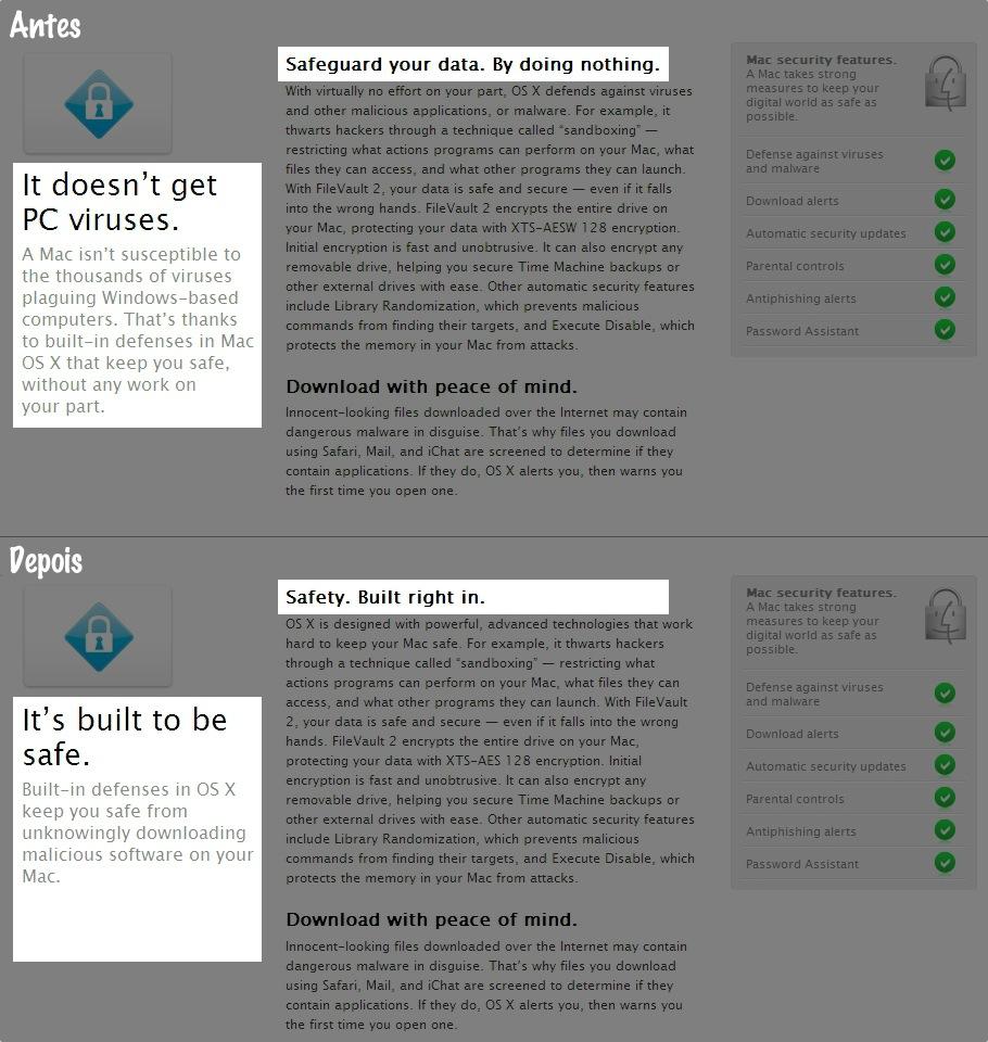 Página de segurança da Apple - Antes e depois