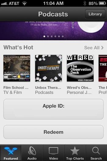 """Botão Resgatar (""""Redeem"""") no app Podcasts"""
