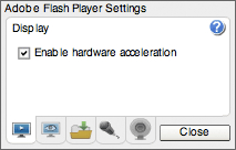 Configurações do Adobe Flash Player