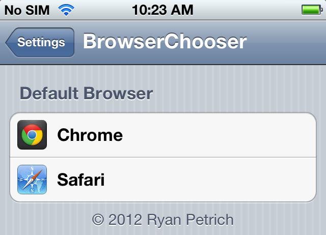 BrowserChooser no iOS com Chrome e Safari