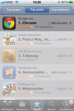 Google Chrome no topo da App Store