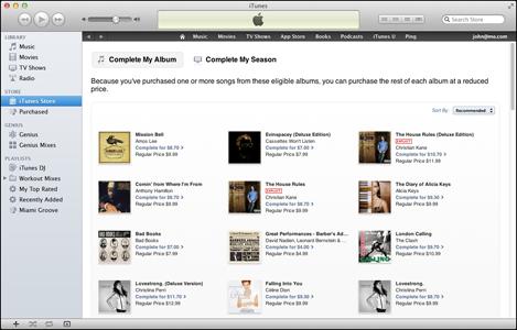 """Página """"Completar meu álbum"""", na iTunes Store"""