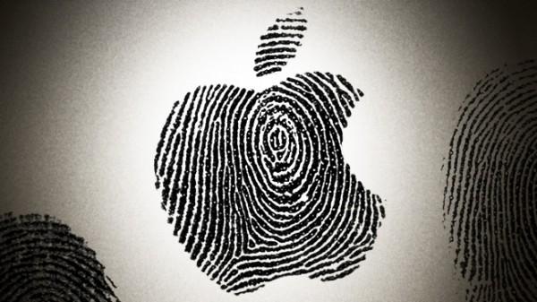 Logo da Apple formado com impressões digitais