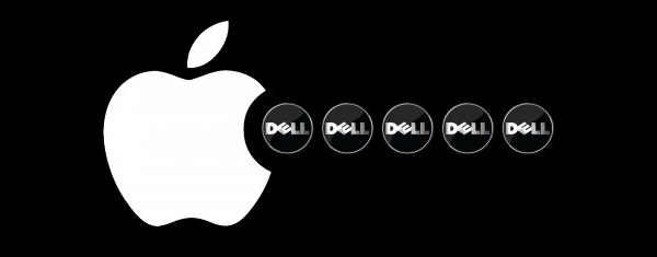 Logo da Apple comendo logos da Dell