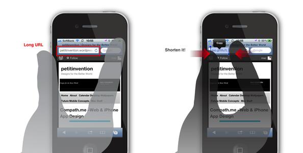 Conceito de encurtador de URLs no Mobile Safari do iOS