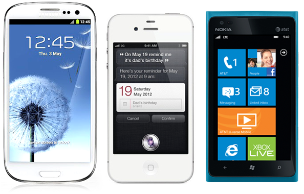 Samsung Galaxy S III, iPhone 4S e Nokia Lumia 900