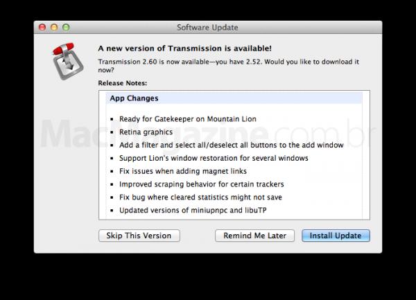 Atualização 2.60 do aplicativo Transmission