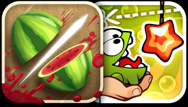 Ícones - Fruit Ninja e Cut the Rope: Experiments