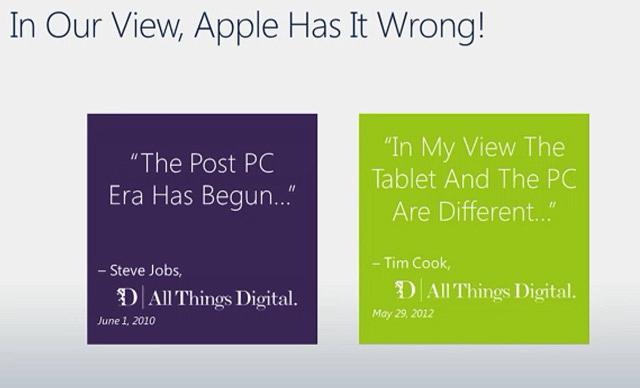 Microsoft sobre Apple e tablets