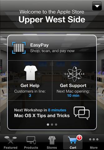 Sistema EasyPay utilizado em Apple Retail Stores