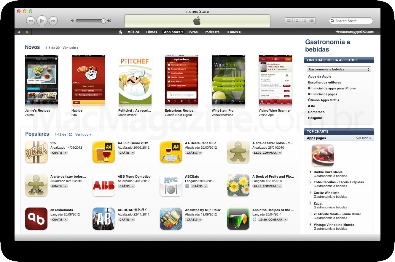 Categoria Gastronomia e bebidas na App Store