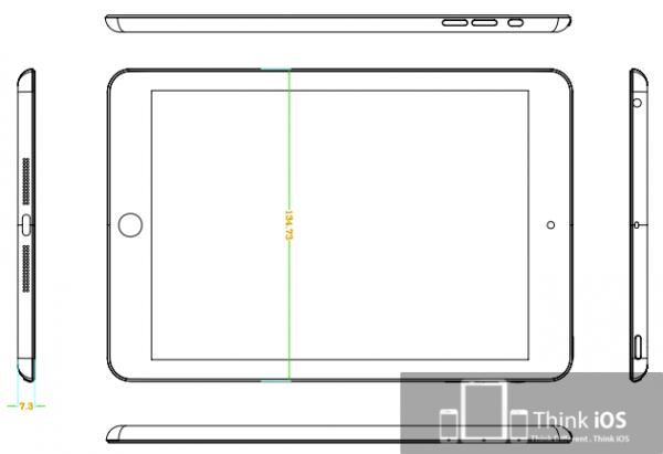 "Suposto desenho técnico do ""iPad mini"""