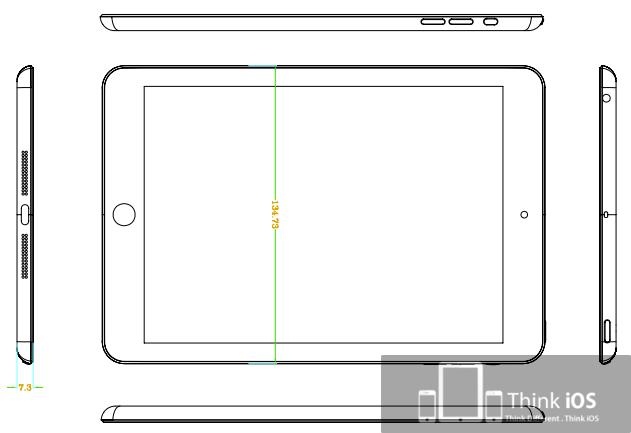 """Suposto desenho esquemático do """"iPad mini"""""""