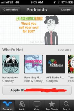 """App Podcasts sem o botão Resgatar (""""Redeem"""")"""