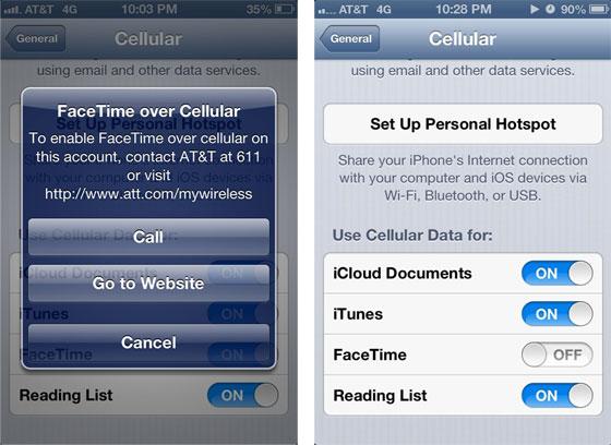 Mensagem da AT&T para o uso do FaceTime em sua rede