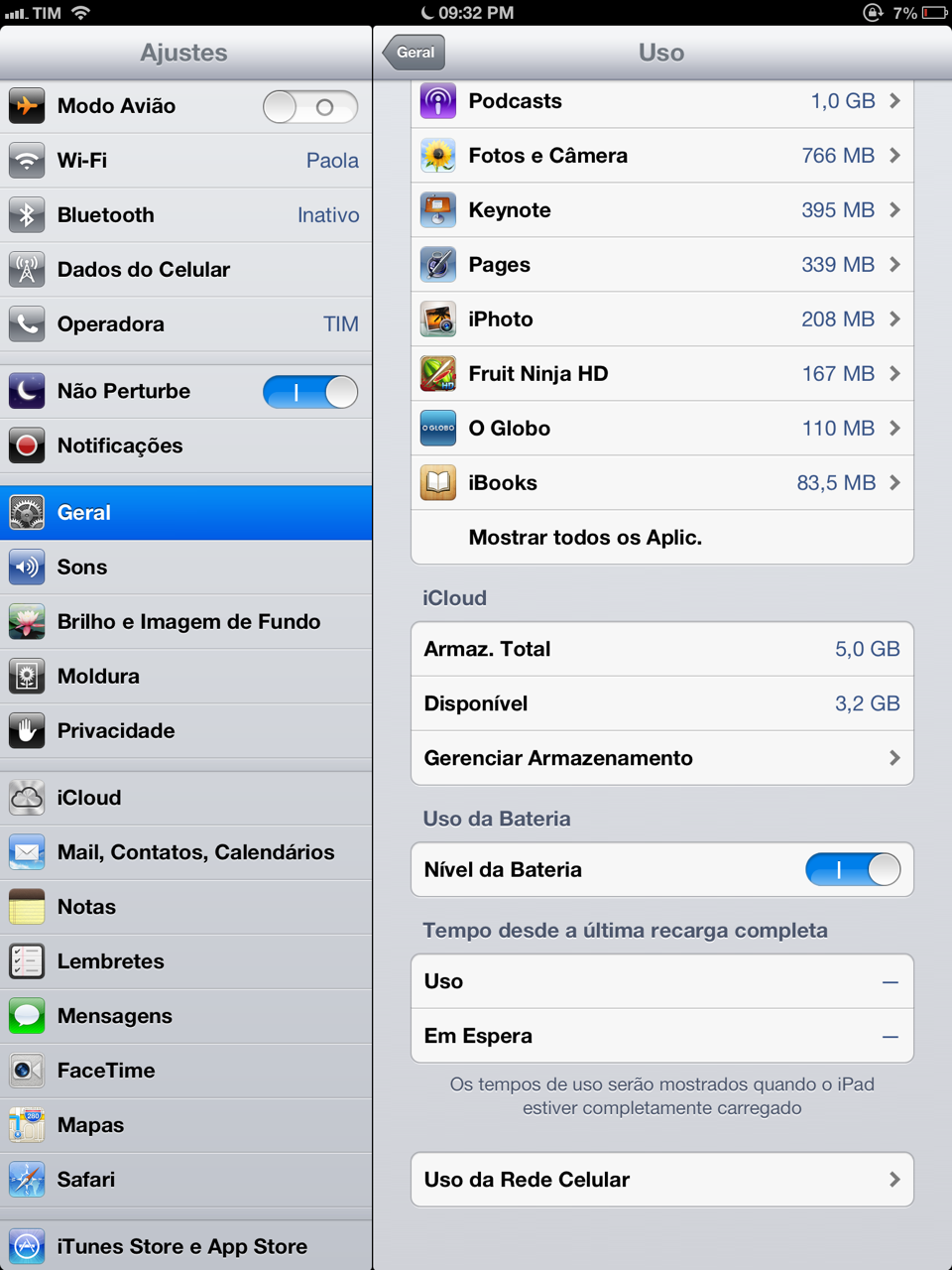 Bateria do iPad no iOS 6