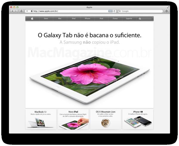 Comunicado judicial no site da Apple (falso)