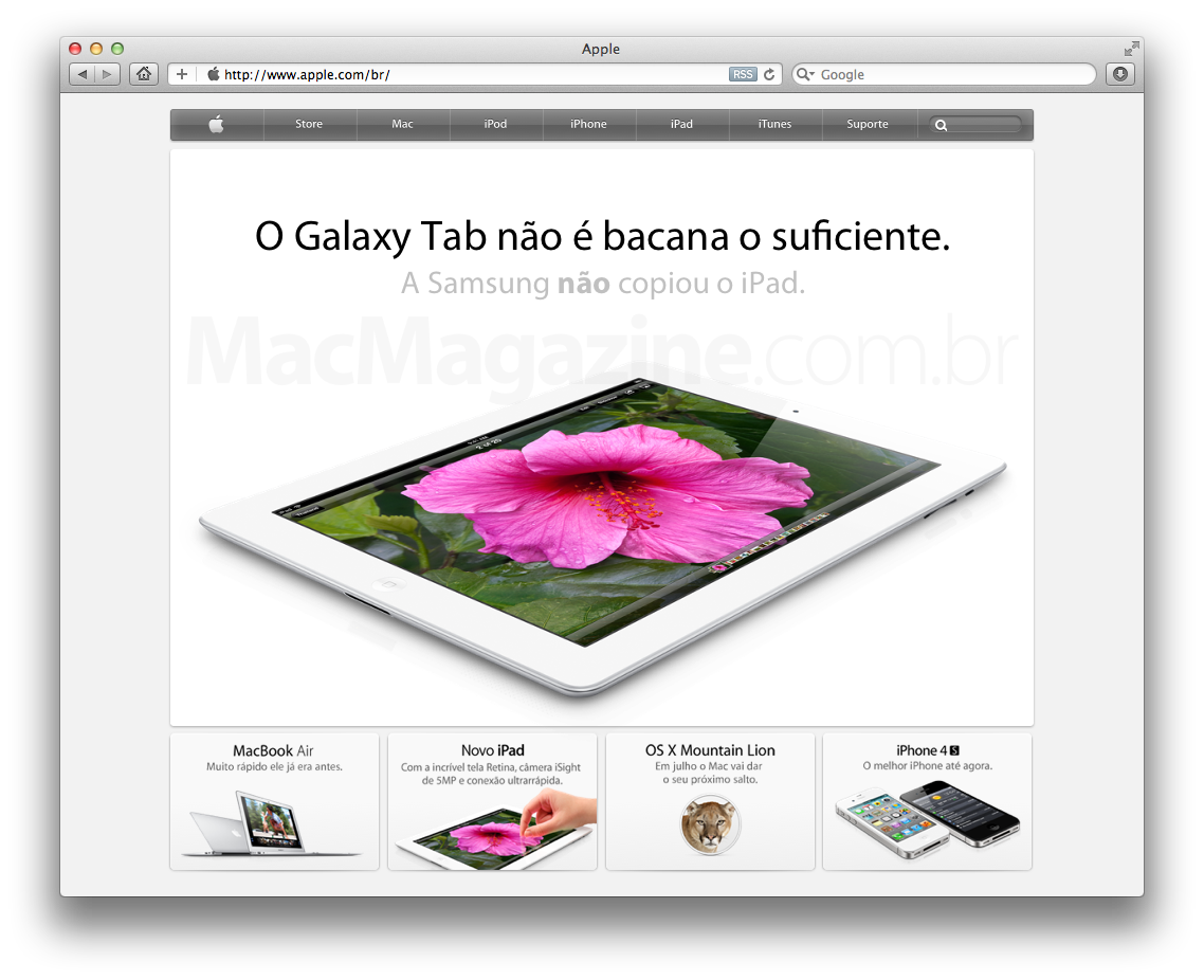 Comunicado judicial no site da Apple (falso)