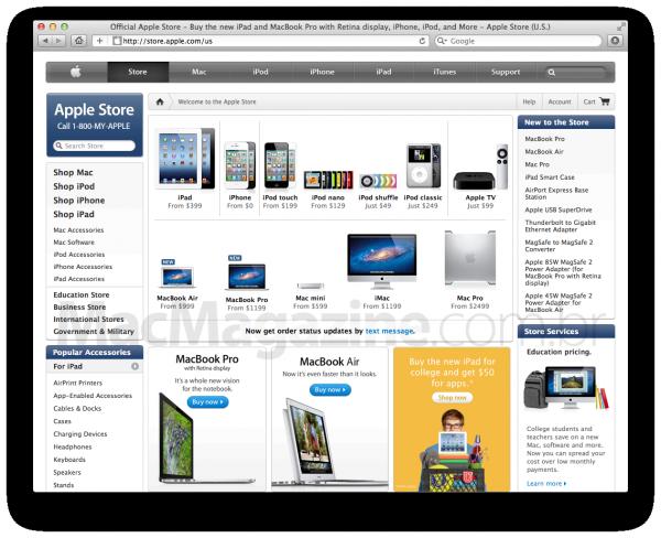 Notificações via SMS para compras na Apple Online Store